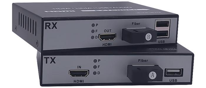 Émetteur Récepteur Extension HDMI par Fibre Optique 1080p USB (La paire)