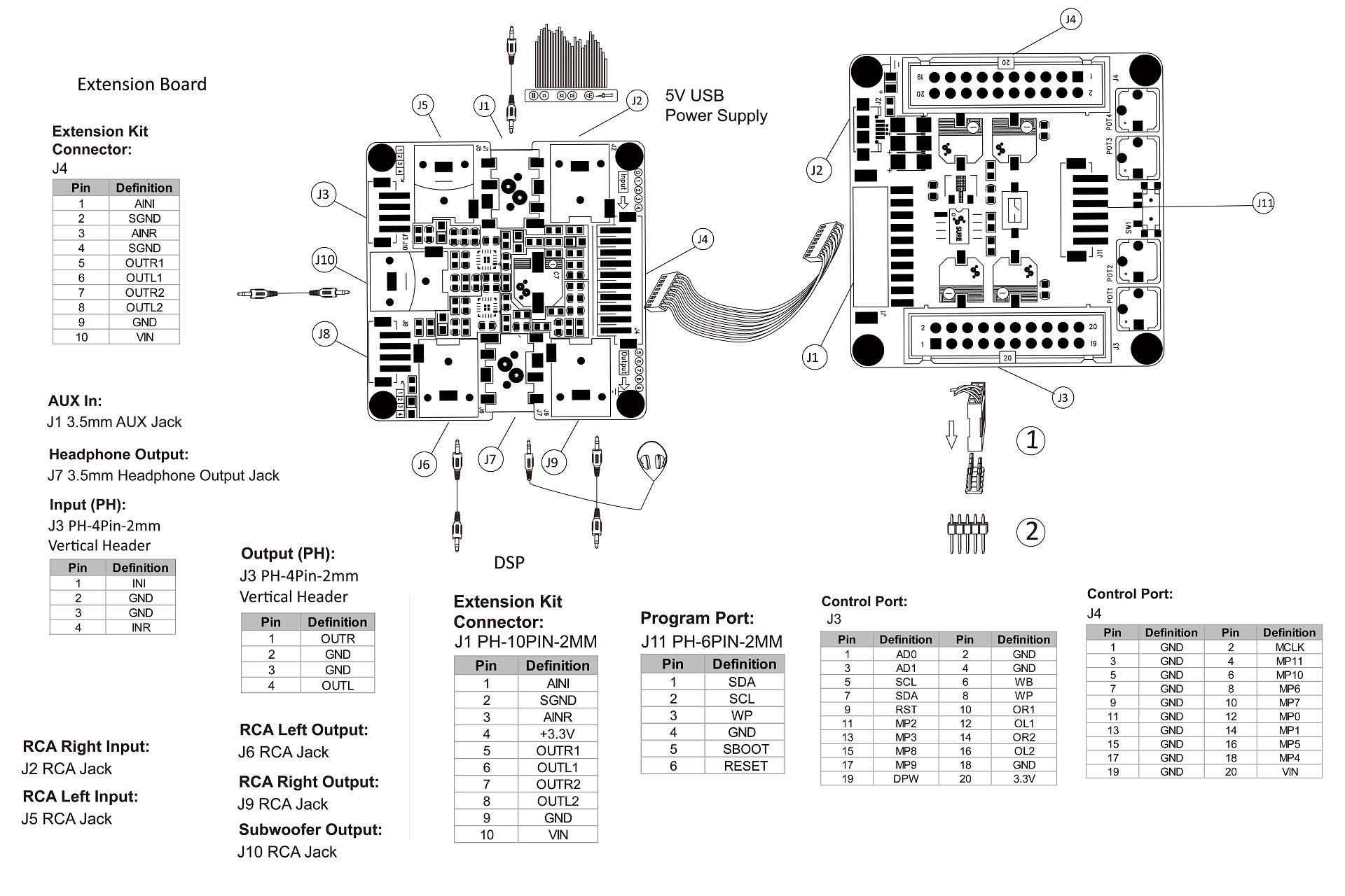 Wondom ADAU1701 APM2 Module DSP pour Filtrage Actif Compact Sigma Studio
