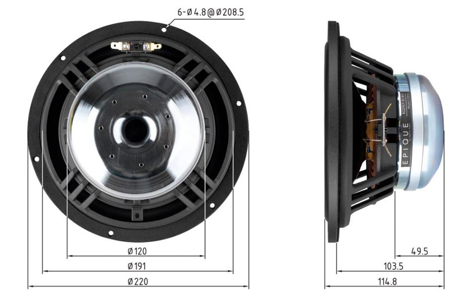 Dayton Audio Epique E220CF-8 Haut-Parleur de Grave Fibre de Carbone 150W 8 Ohm 91.5dB 25Hz - 4500Hz Ø20.3cm