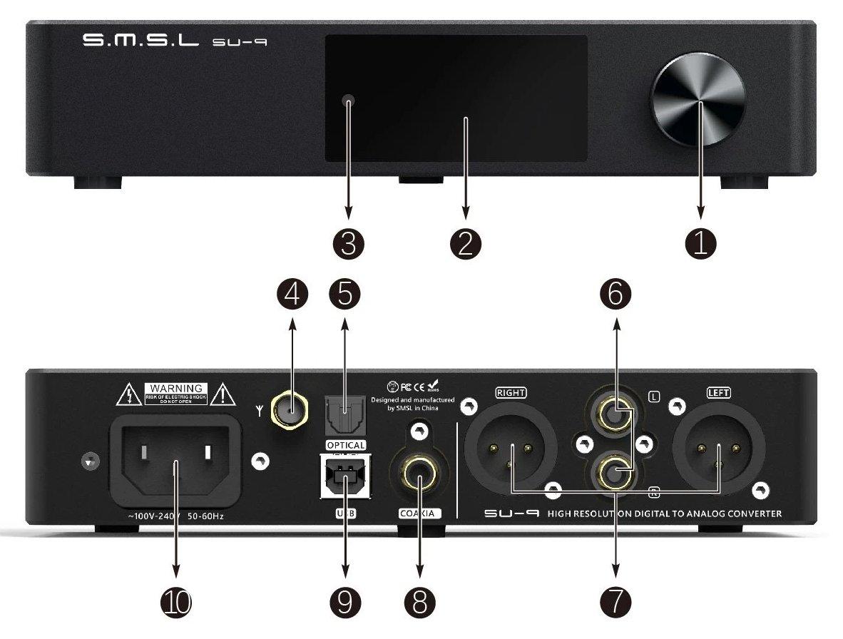 SMSL SU-9 DAC ES9038Pro USB XMOS Bluetooth 5.0 32bit 768kHz DSD512