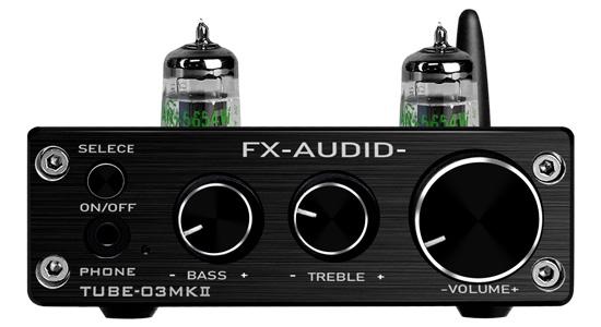 FX-Audio Tube-03 MKII Préamplificateur à Tubes 5654 Stéréo Bluetooth 5.0 Noir