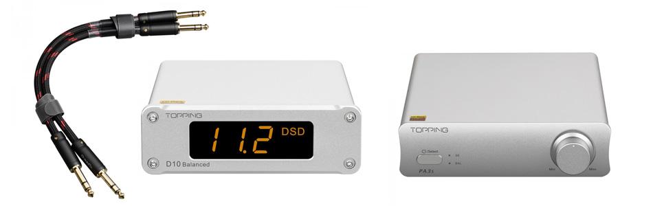 Pack Topping Amplificateur Class D PA3S + DAC Symétrique D10 BALANCED + Câbles Jack 6.35mm TCT1