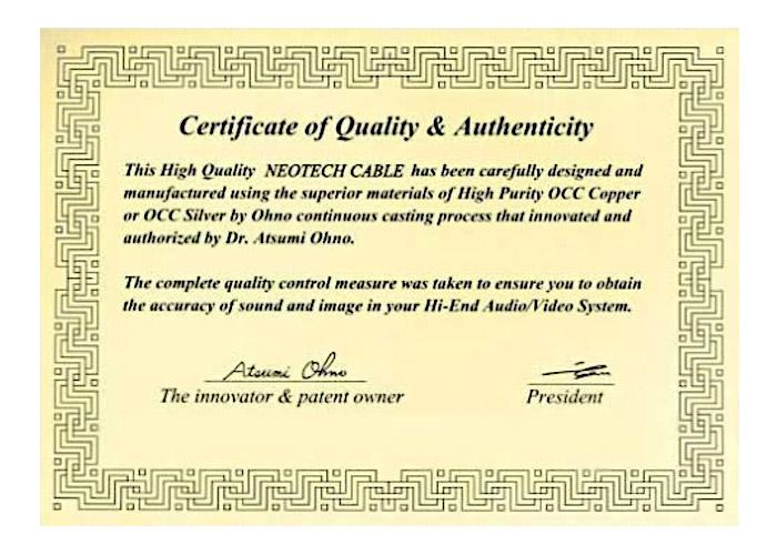 Certificat authenticité OCC Neotech