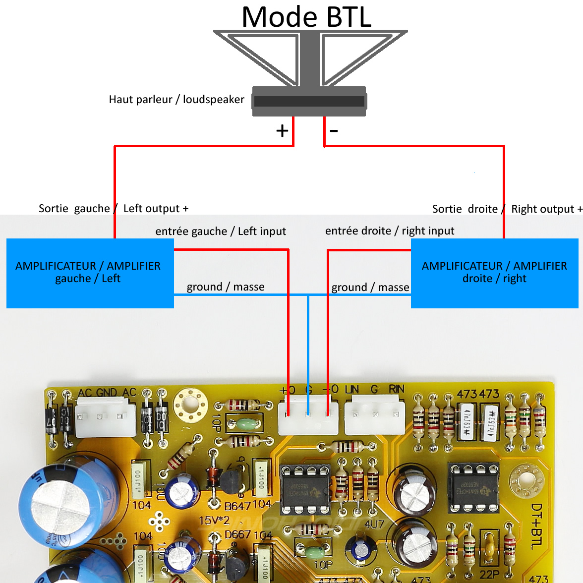 schéma préampl ampli NE5532 BTL