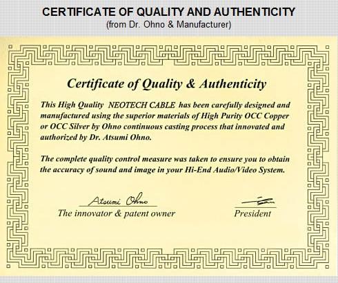 Certificat de qualité et d'authenticité Neotech OCC